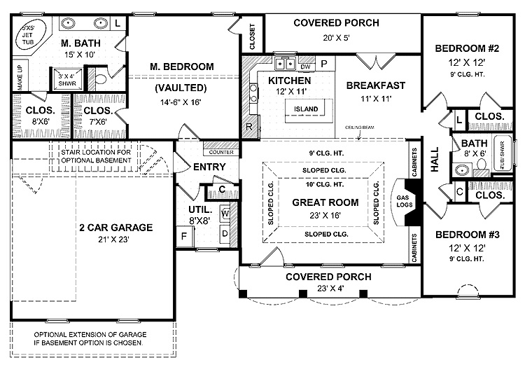 Blank Single story floor plans with open floor plan